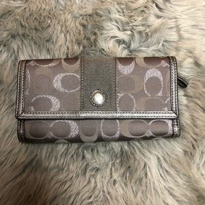 Authentic Coach Silver C Logo Trifold Wallet